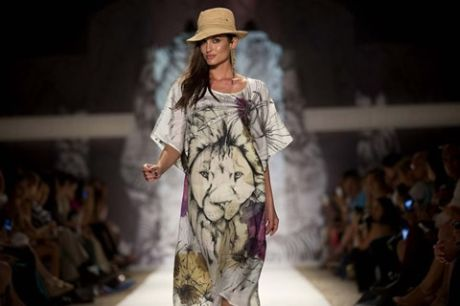 A model walks the runway during the Agua Bendita show. (J Pat Carter/Associated Press)